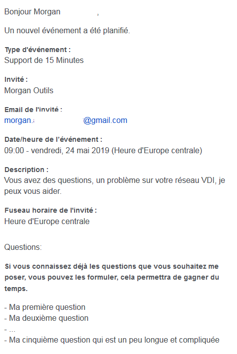 Calendly Mail reçu Client