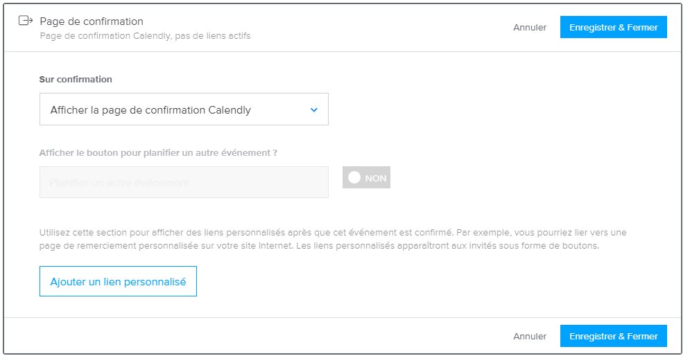 Calendly Page de confirmation