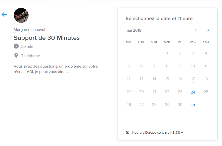 Calendly Selection date de rendez-vous