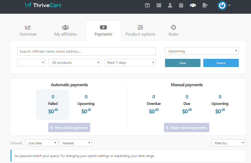 ThriveCart Payments des affiliés