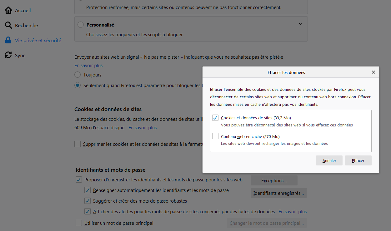 Suppression des cookies sur Firefox