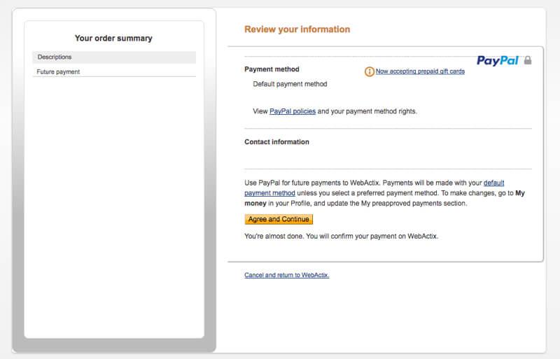 ThriveCart Accepter et Continuer sur Paypal