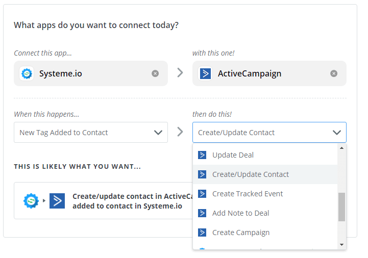 Zapier - Active Campaign Create Update Contact