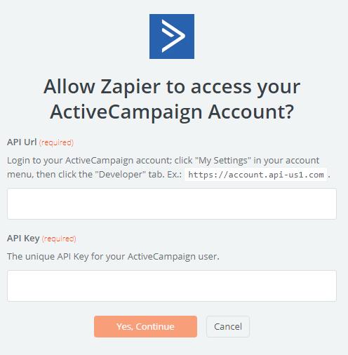 Zapier - Active Campaign - Parametrage API