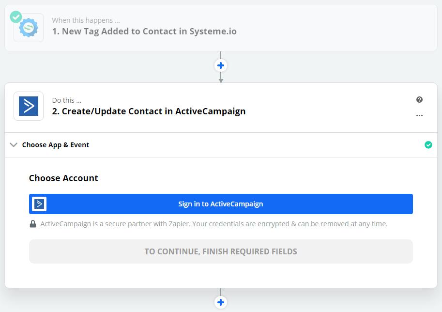 Zapier - Active Campaign connexion