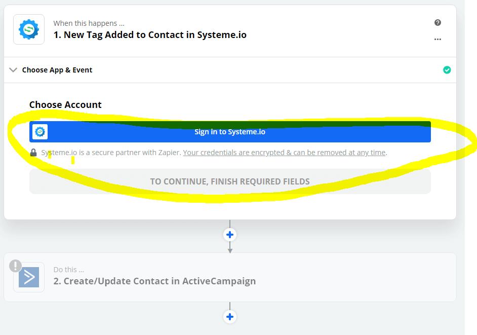 Zapier - Connexion Systeme.io
