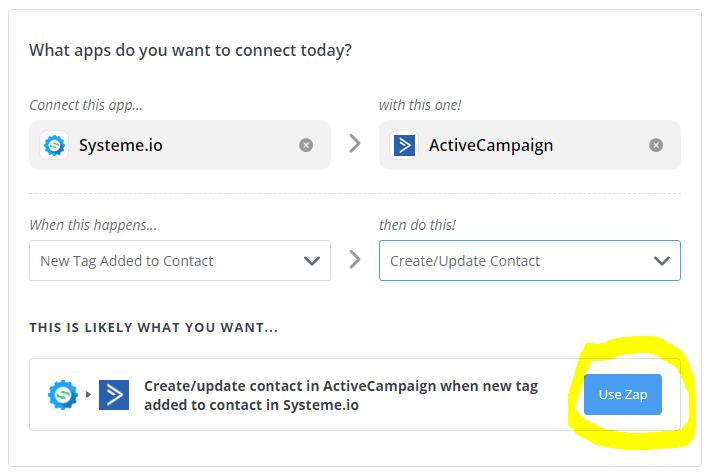 Zapier - Systeme.io tag vers ActiveCampaign Update