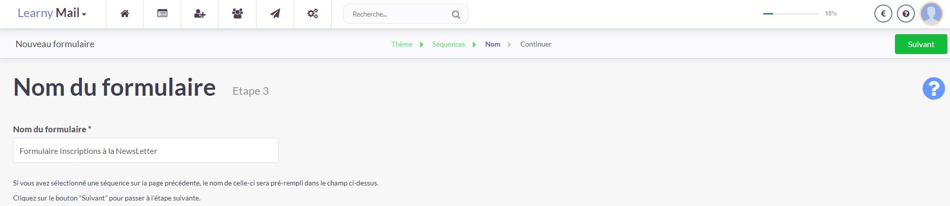 LearnyMail - Nommer votre nouveau formulaire