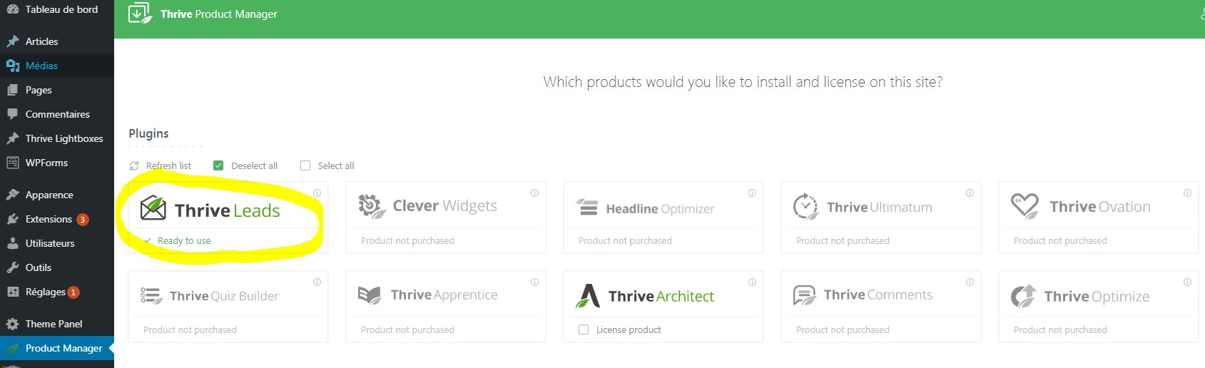 ThriveLeads - Installation via Product Manager