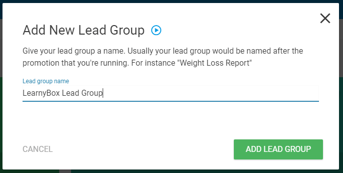 ThriveLeads - Nommer le Lead Group