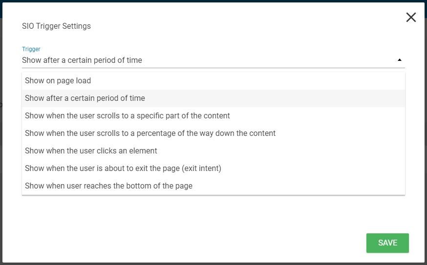ThriveLeads Choix bon moment pour afficher formulaire
